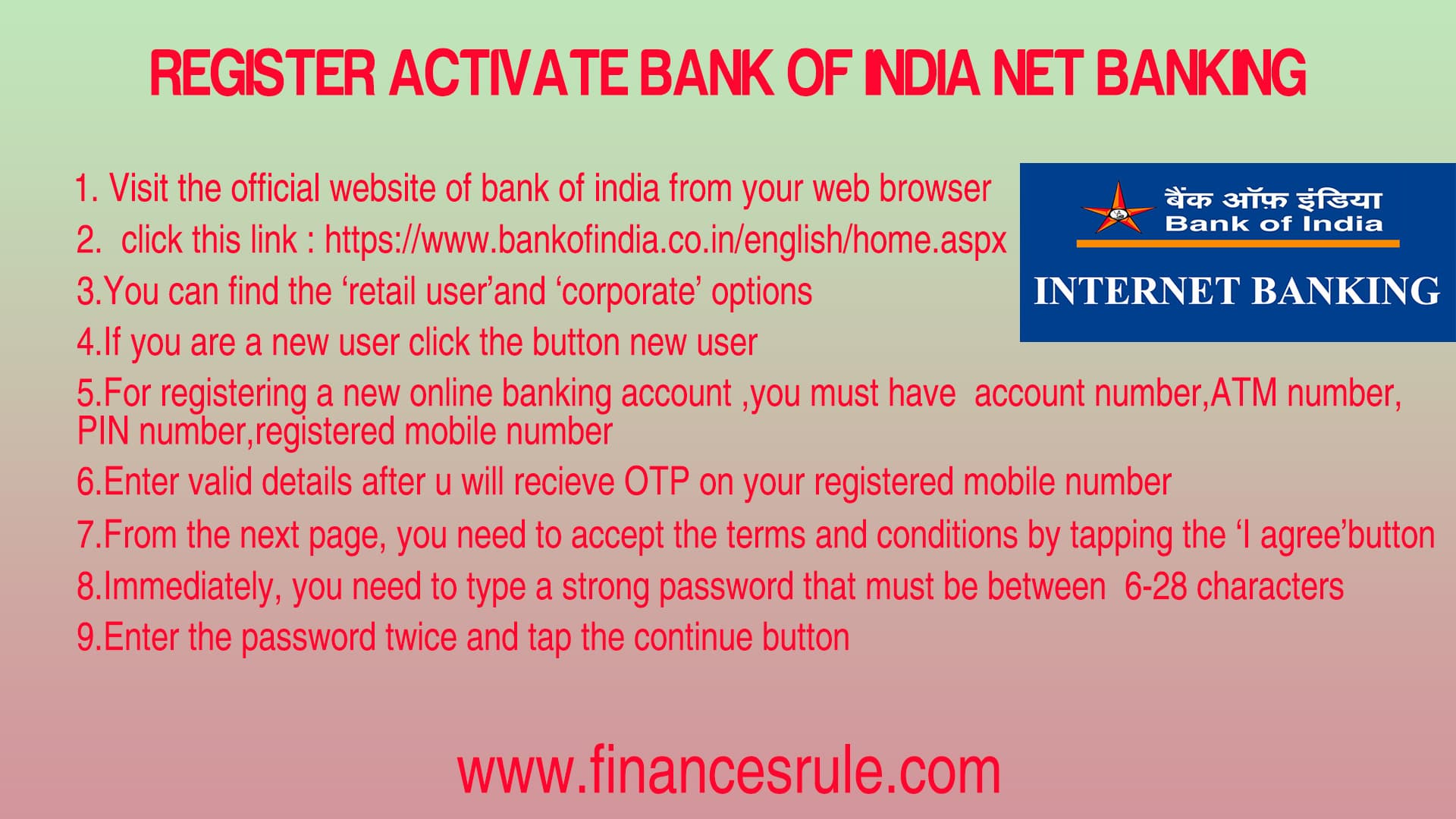 Bank of India Net banking
