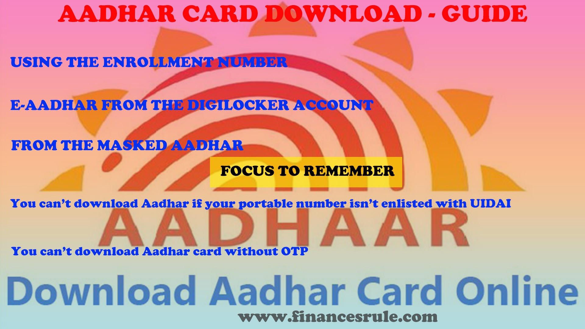 e aadhar card online download by aadhaar number