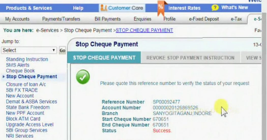 Stop SBI Cheques Payment